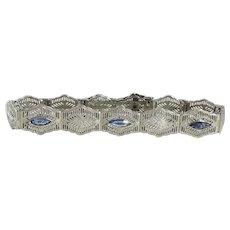 Art Deco 10K White Gold Filigree Bracelet