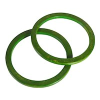 Pair Of Retro Period Marbled Green Bakelite Bangle Bracelets