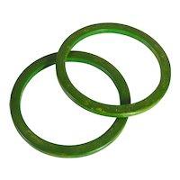 Pair Of Retro Period Marbled Green Bakelite Bangle Bracelets