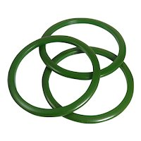 Trio Of Retro Green Bakelite Bangle Bracelets