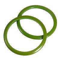 Pair Of Retro Green Bakelite Bangle Bracelets