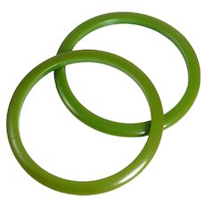 Pair Of Retro Green Bakelite Bangle Bracelets