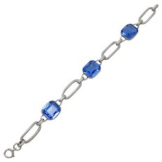 Art Deco Sterling Silver Blue Stone Bracelet