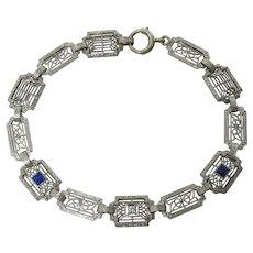 Art Deco 14K White Gold Krementz Sapphire And Diamond Bracelet