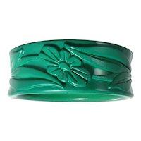 Vintage Mid Century Green Floral Bangle Bracelet