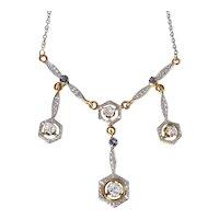 Edwardian 14K White on Yellow Gold Diamond and Sapphire Necklace