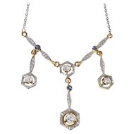 Edwardian 14K White on Yellow Gold Diamond and Sapphire Necklace