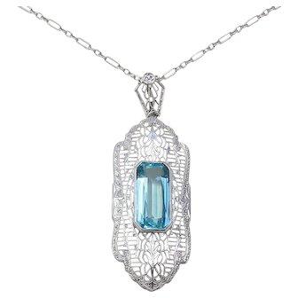 Art Deco 14K White Gold Filigree Necklace