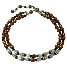 Vintage Double Strand Of Copper Lustre And Crystal Bead Necklace