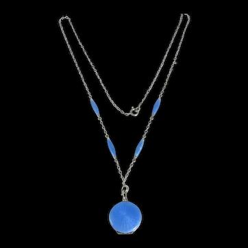 Edwardian Sterling Silver Blue Guilloche' Enamel Locket And Chain