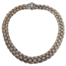 Vintage Sterling Silver Woven Foxtail Chain Choker