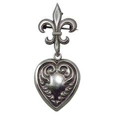 Victorian Sterling Silver Fleur De Lis Watch Receiver With Heart Pendant
