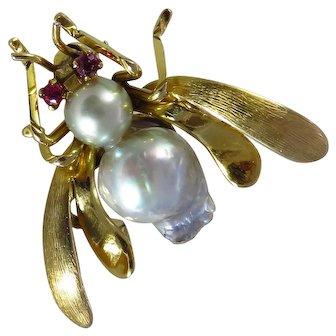 Vintage 14K Yellow Gold Pearl Bee Brooch