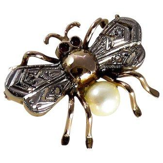 18K Rose Gold & Platinum Bee Brooch