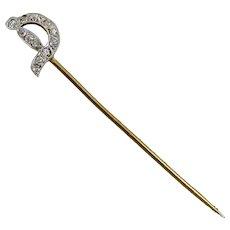 "Edwardian Platinum On Gold Diamond ""Sword"" Stickpin"