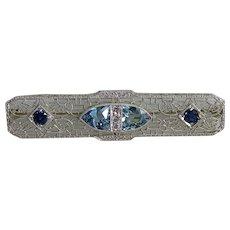 Art Deco 14K White Gold Aquamarine, Sapphire & Diamond Brooch