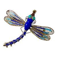 Vintage Sterling Silver Enamel Dragonfly Pendant Brooch