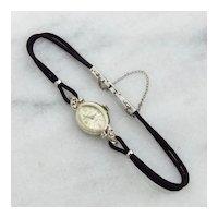 Vintage 14K White Gold Diamond Nicolet Watch