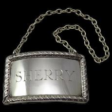 "Vintage Sterling Silver ""Sherry"" Decanter Label"