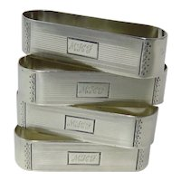Four Watrous Art Deco Sterling Silver Napkin Rings