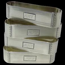 Four Watrous Art Deco Sterling Silver Napkin Rings