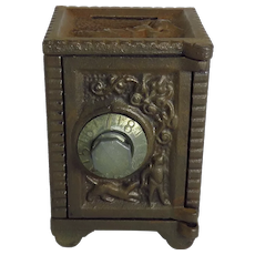 Vintage Cast Iron And Tin Safe Still Bank