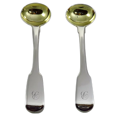 Pair Of Georgian Sterling Silver Master Salt Spoons By Eley, Fearn, Chawner