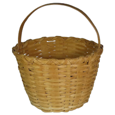 Vintage Round Primitive Splint Oak Basket