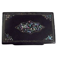 Victorian Black Lacquer Snuff Box With Mother of Pearl Inlay