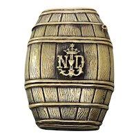 Edwardian Wine Barrel Shaped Vesta Case