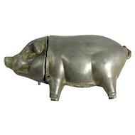 Late Victorian Pewter Pig Vesta Case