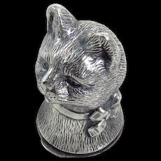 Vintage Sterling Silver Cat Vesta Case
