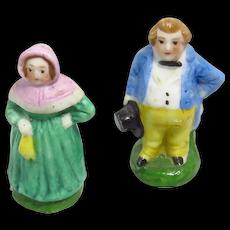Pair Of Antique Miniature German Bisque Porcelain Figures