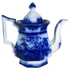 Antique Flow Blue Teapot Amoy Pattern