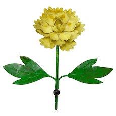 Vintage Italian Tole Yellow Floral Hook