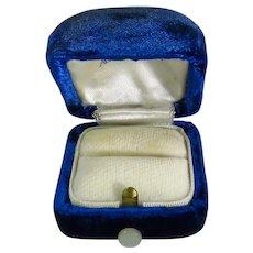 Vintage Blue Velvet Presentation Ring Box