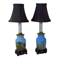 Pair Of Blue Prattware Wild Boar Hunt Meat Jar Lamps