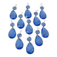 Group Of Eleven Vintage Blue Glass Chandelier Prisms