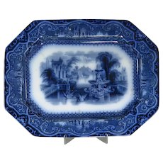 """Athens"" Pattern Flow Blue Platter By W. Adams & Sons"