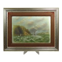 Victorian Seascape Oil Painting on Glass