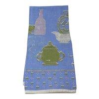 Vintage Linen Tea Towel With Antique Glassware Images