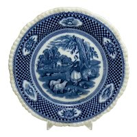 """Victorian Blue and White William Adams """"Old English Rural Scene"""" Plate"""