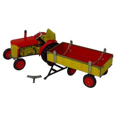 Tin Litho Schylling Toy Tractor And Trailer