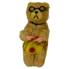 Vintage Max Carl Wind Up Mechanical Knitting Bear Toy