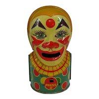 Vintage J. Chein Tin Litho Clown Bank