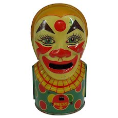 Vintage J. Chein Tin Litho Clown Bank