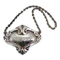 Vintage Silver Plated Sherry Decanter Label