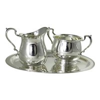 Vintage Sterling Silver Open Cream And Sugar With Tray