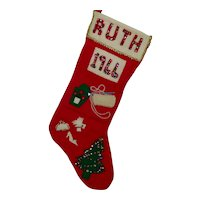 Vintage 'Ruth 1966' Felt Christmas Stocking
