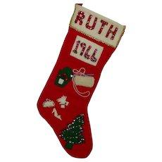 Vintage 'Ruth 1966' Felt Christmas Stocking